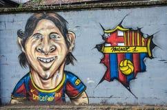 Lionel Messi на стене Стоковые Фотографии RF