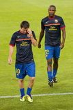 Lionel Messi and Abidal Stock Images