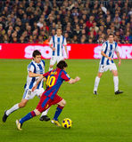 Lionel Messi in action. BARCELONA - DECEMBER 13: Leo Messi (10) in action during the Spanish League match between FC Barcelona and Real Sociedad, 5 - 0, in Camp Royalty Free Stock Images