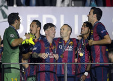 Lionel Messi, Adriano, Andres Iniesta und Sergio Busquets Stockfotos