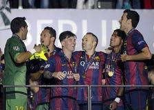 Lionel Messi, Adriano, Andres Iniesta y Sergio Busquets Fotos de archivo