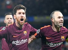 Lionel Messi and Andres Iniesta goal celebration Royalty Free Stock Photography