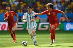 Lionel Messi and Axel Witsel Coupe du monde 2014 Stock Image