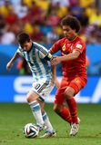 Lionel Messi and Axel Witsel Coupe du monde 2014 Royalty Free Stock Images
