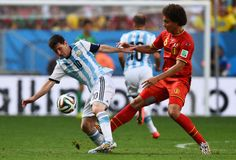 Lionel Messi and Axel Witsel Coupe du monde 2014 Royalty Free Stock Photo