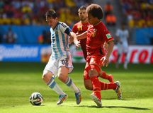 Lionel Messi and Axel Witsel Coupe du monde 2014 Stock Photo