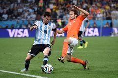 Lionel Messi and Daley Blind Coupe du monde 2014 Stock Images