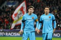Lionel Messi durante el juego de la liga de campeones de UEFA entre Bayer Fotos de archivo