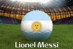 Lionel Messi en lengua argentina en bola del equipo de fútbol en fondo grande del estadio Concepto de la competencia del equipo d stock de ilustración