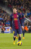 Lionel Messi. Of FCB in action at the Spanish League match between FC Barcelona and Osasuna, final score 5 - 1, on January 27, 2013, in Barcelona, Spain Stock Image