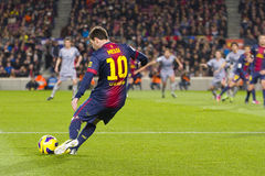 Lionel Messi FCB. Lionel Messi of FCB in action at the Spanish League match between FC Barcelona and Osasuna, final score 5 - 1, on January 27, 2013, in Stock Images