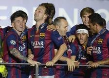 Lionel Messi, Ivan Rakitic, Andres Iniesta et Neymar Photographie stock