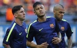 Lionel Messi, Neymar jr en Dany Alves FC Barcelone Stock Afbeelding