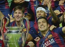 Lionel Messi, Neymar und Luis Suarez Stockfotografie