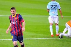 Lionel Messi (opuszczać), Argentinean F C Barcelona gracz, świętuje jego cel przeciw Celcie de Vigo przy Obozowym Nou Fotografia Stock