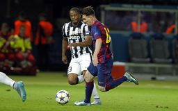 Lionel Messi and Patrice Evra Juventus v FC Barcelona - UEFA Champions League Final Stock Photography