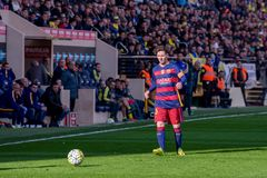 Lionel Messi plays at the La Liga match between Villarreal CF and FC Barcelona Royalty Free Stock Photo
