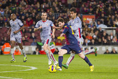 Lionel Messi scoring a goal Royalty Free Stock Photos