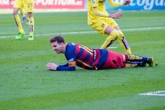 Lionel Messi spelar på den LaLiga matchen mellan Villarreal CF och FCet Barcelona Royaltyfri Bild