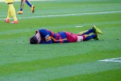 Lionel Messi spelar på den LaLiga matchen mellan Villarreal CF och FCet Barcelona Arkivfoto