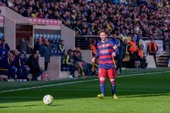 Lionel Messi-spelen bij de gelijke van La Liga tussen Villarreal CF en FC Barcelona Royalty-vrije Stock Foto