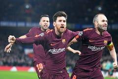 Lionel Messi- und Andres Iniesta-Zielfeier lizenzfreies stockbild