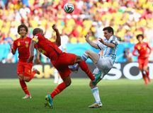 Lionel Messi and Vincent Kompany Coupe du monde 2014 Royalty Free Stock Photo
