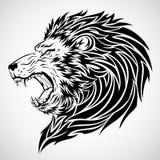 lionen vrålar tatueringen royaltyfri illustrationer