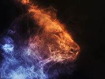 Lioness abstract smoke illustration - blue and orange Stock Photo