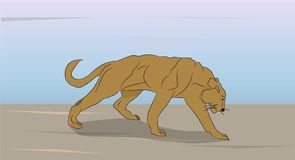 Lioness on nature royalty free illustration