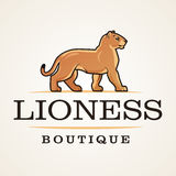 Lioness logo vector. Lion design template. Shop or boutique illustration. Big cat insignia, Cougar logotype on light Royalty Free Stock Photo
