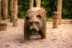 Lioness made of Wood Royalty Free Stock Image