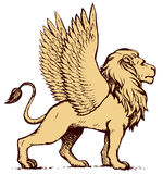 Lioness with wings. Vector drawing Royalty Free Stock Photo
