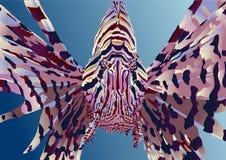Lionfish auf einem blauen Hintergrund Stockfotografie