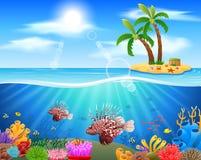 Lionfish e recifes de corais no mar imagem de stock