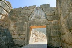 Liongates in ancient Mycenae Stock Images