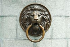 Lionhead oLd door knocker Stock Photo