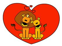 Lions. Two loving lions against heart Stock Photography