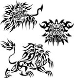 Lions. Three tattoos with flaming lions Royalty Free Stock Photos