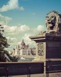 Guardian of the Budapest Chain Bridge stock photos