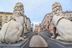 Lions bridge in St. Petersburg. Beautiful bridge in St. Petersburg. The bridge of lions. Sculptures of lions. Ancient bridge of the 19th century royalty free stock photo