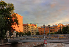Lions Bridge, St. Petersburg, Russia Royalty Free Stock Photo