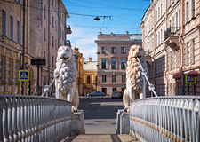 Lions Bridge. St. Petersburg, Russia. Lions Bridge over the Griboyedov Canal in St. Petersburg, Russia Royalty Free Stock Image