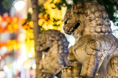 Lions of China town in Soho, London Royalty Free Stock Photos