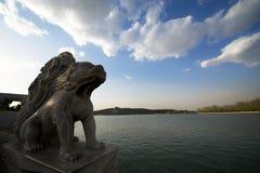 Lions chinois de gardien dans le palais d'été Photo libre de droits