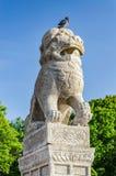 Lions chinois et x22 ; Chi Tza& x22 ; au remblai de Petrovskaya Images stock