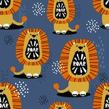 Lions, colorful cute seamless pattern stock photos