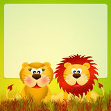 Lions couple cartoon. Illustration of lions in love Royalty Free Illustration