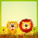 Lions couple cartoon Stock Image