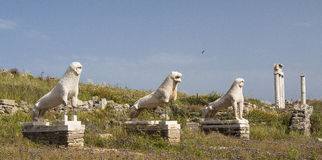 Lions of Delos. An archaeologic isle in the cyclades, greece Stock Image